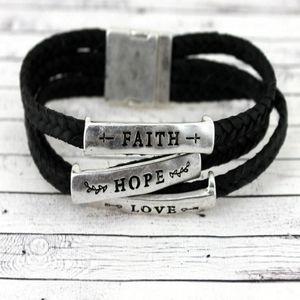 Jewelry - Faith Hope Love Magnetic Bracelet in Black
